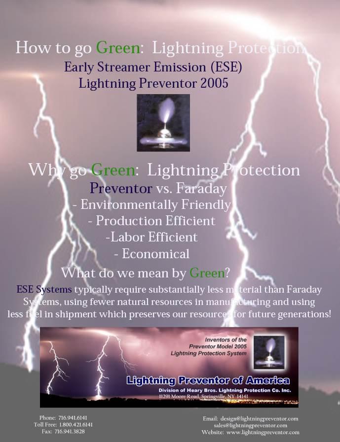Going Green Lightning Preventor Of America Lightning